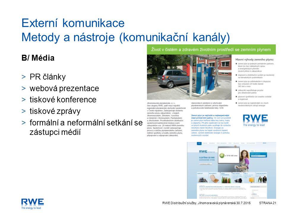 RWE Distribuční služby, Jihomoravská plynárenská 30.7.2015STRANA 21 Externí komunikace Metody a nástroje (komunikační kanály) B/ Média >PR články >web