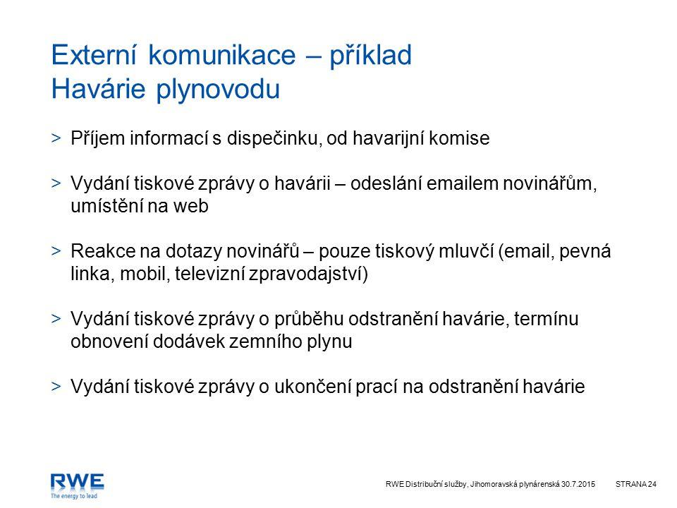 RWE Distribuční služby, Jihomoravská plynárenská 30.7.2015STRANA 24 Externí komunikace – příklad Havárie plynovodu >Příjem informací s dispečinku, od