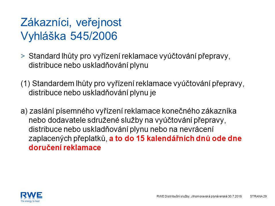RWE Distribuční služby, Jihomoravská plynárenská 30.7.2015STRANA 29 Zákazníci, veřejnost Vyhláška 545/2006 >Standard lhůty pro vyřízení reklamace vyúč