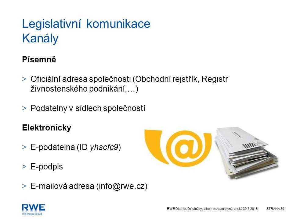 RWE Distribuční služby, Jihomoravská plynárenská 30.7.2015STRANA 30 Legislativní komunikace Kanály Písemně >Oficiální adresa společnosti (Obchodní rejstřík, Registr živnostenského podnikání,…) >Podatelny v sídlech společností Elektronicky >E-podatelna (ID yhscfc9) >E-podpis >E-mailová adresa (info@rwe.cz)
