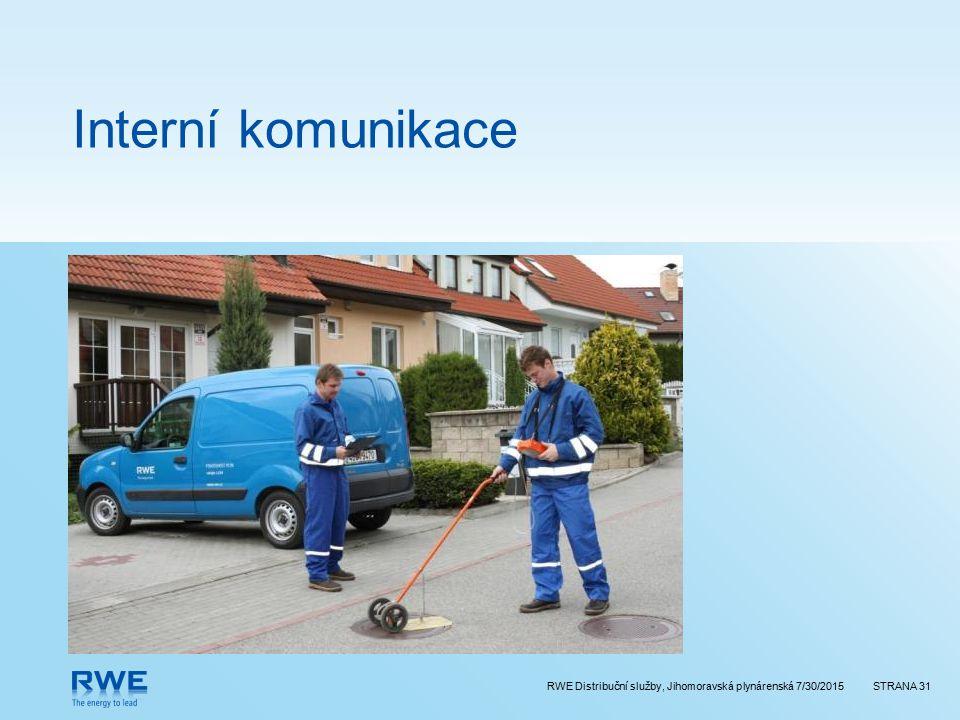 RWE Distribuční služby, Jihomoravská plynárenská 7/30/2015STRANA 31 Interní komunikace