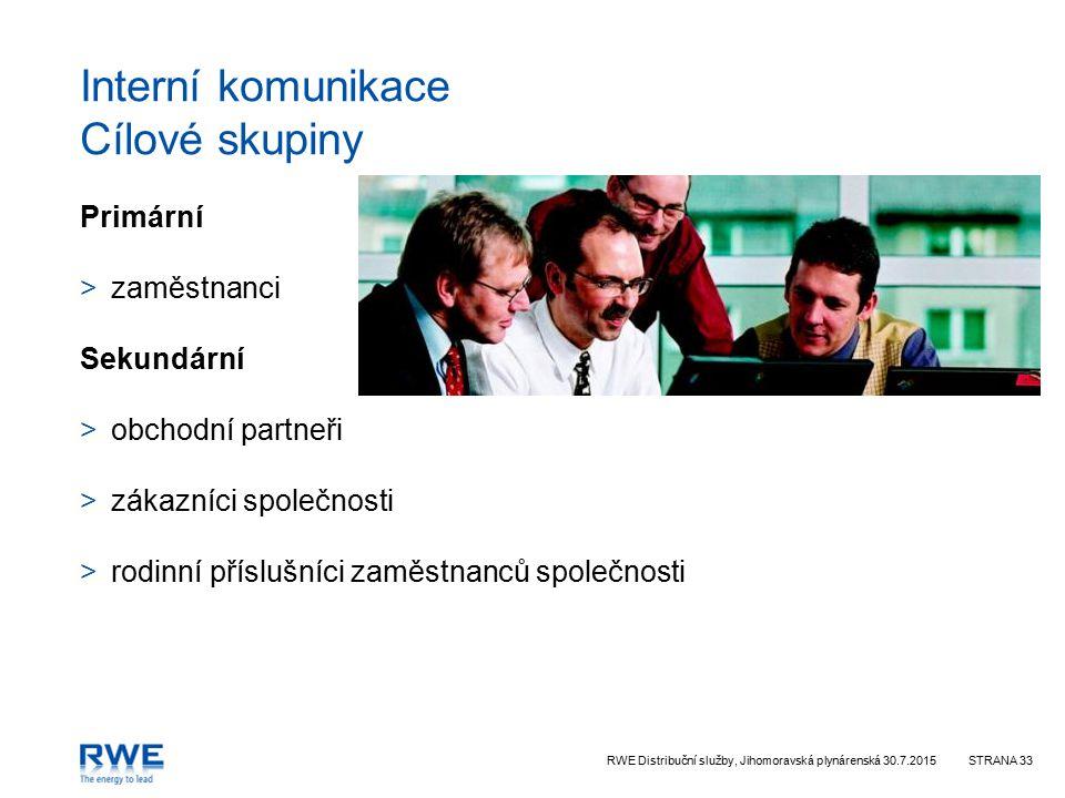 RWE Distribuční služby, Jihomoravská plynárenská 30.7.2015STRANA 33 Interní komunikace Cílové skupiny Primární >zaměstnanci Sekundární >obchodní partneři >zákazníci společnosti >rodinní příslušníci zaměstnanců společnosti