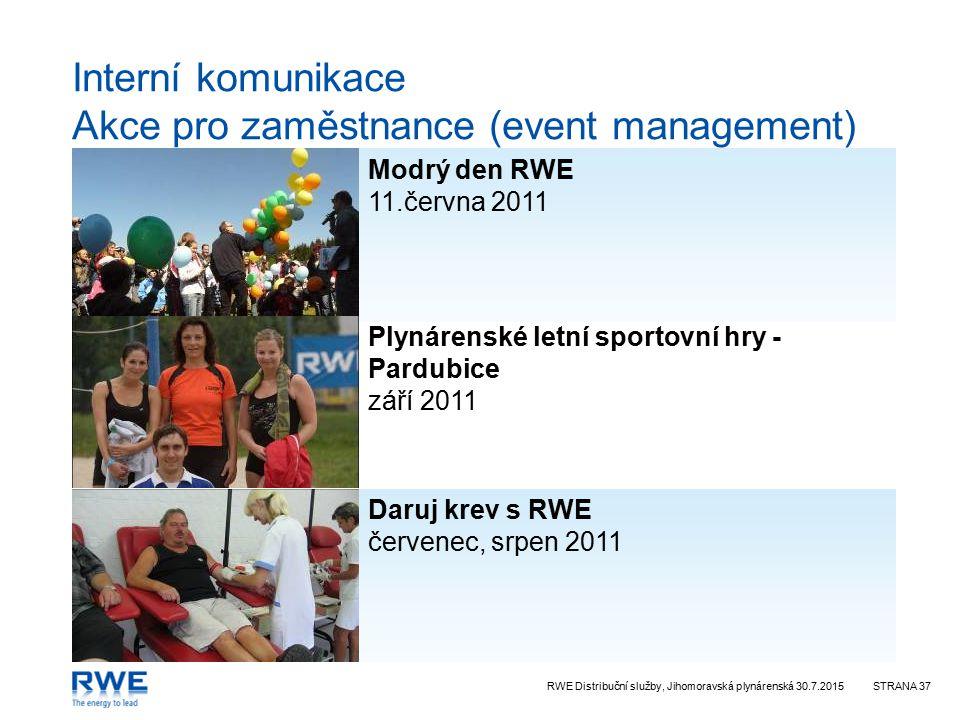 RWE Distribuční služby, Jihomoravská plynárenská 30.7.2015STRANA 37 Interní komunikace Akce pro zaměstnance (event management) Plynárenské letní sportovní hry - Pardubice září 2011 Daruj krev s RWE červenec, srpen 2011 Modrý den RWE 11.června 2011