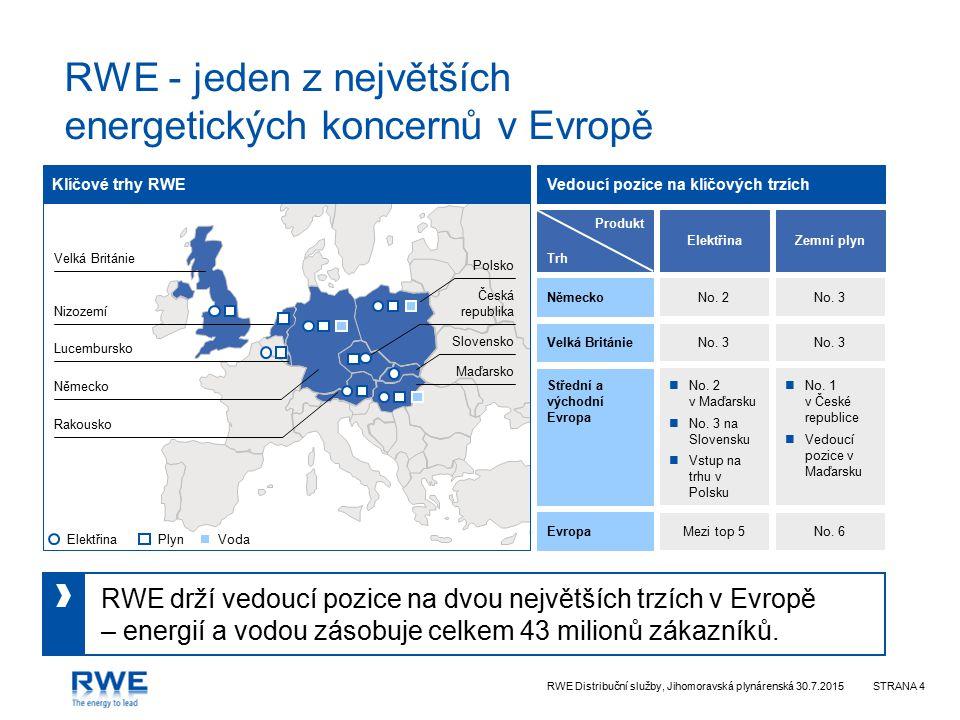 RWE Distribuční služby, Jihomoravská plynárenská 30.7.2015STRANA 4 RWE drží vedoucí pozice na dvou největších trzích v Evropě – energií a vodou zásobuje celkem 43 milionů zákazníků.