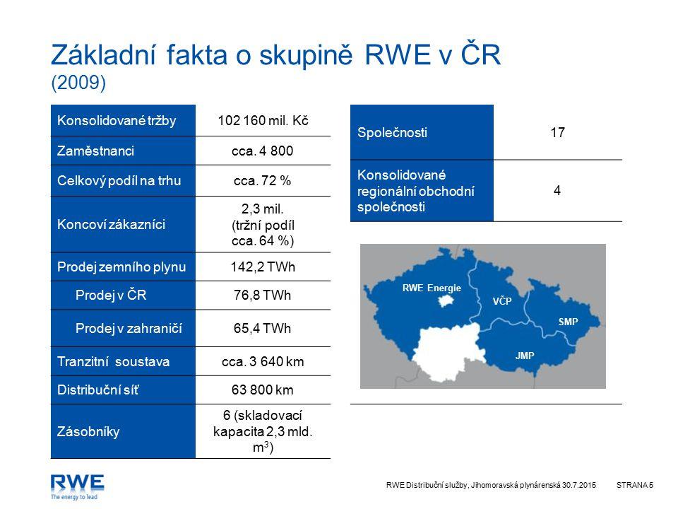 RWE Distribuční služby, Jihomoravská plynárenská 30.7.2015STRANA 5 VČP JMP SMP RWE Energie Základní fakta o skupině RWE v ČR (2009) Konsolidované tržb