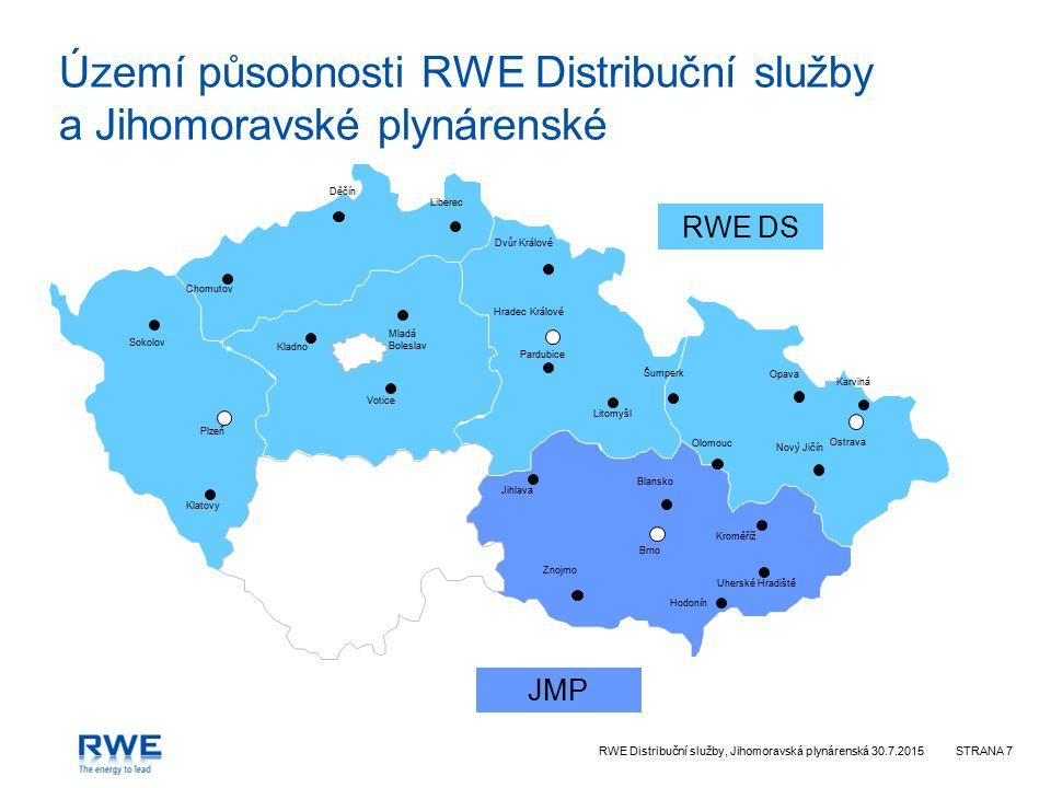 RWE Distribuční služby, Jihomoravská plynárenská 30.7.2015STRANA 7 Území působnosti RWE Distribuční služby a Jihomoravské plynárenské Plzeň Liberec Dě