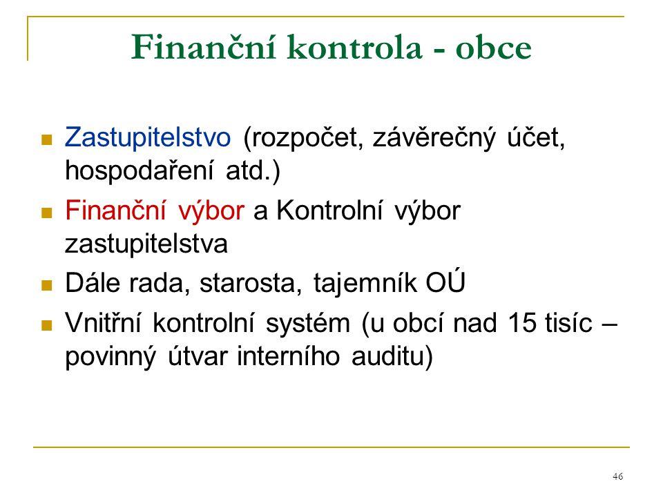 47 Finanční kontrola - kraje Zastupitelstvo (rozpočet, závěrečný účet, hospodaření atd.) Výbory zastupitelstva: Finanční výbor, Kontrolní výbor a Výbor pro výchovu, vzdělávání a zaměstnanost (např.