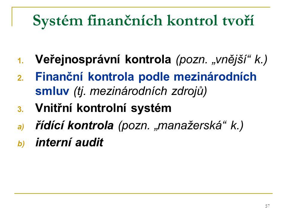 58 Systémy finanční kontroly ve veřejné správě Finanční kontrola vykonávaná kontrolními orgány (veřejnosprávní kontrola) Finanční kontrola podle mezinárodních smluv Vnitřní kontrolní systém Působnost MF ČR (územně finanční orgány) -organizační složky státu -státní fondy -ostatní st.
