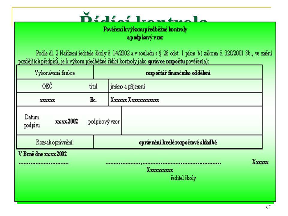 68 Vzorový doklad cestovní příkaz vyslání na služební cestu Příkazce operace Správce rozpočtu