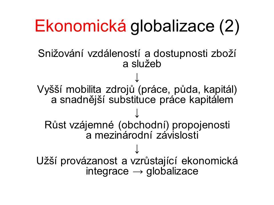 Ekonomická globalizace (2) Snižování vzdáleností a dostupnosti zboží a služeb ↓ Vyšší mobilita zdrojů (práce, půda, kapitál) a snadnější substituce pr
