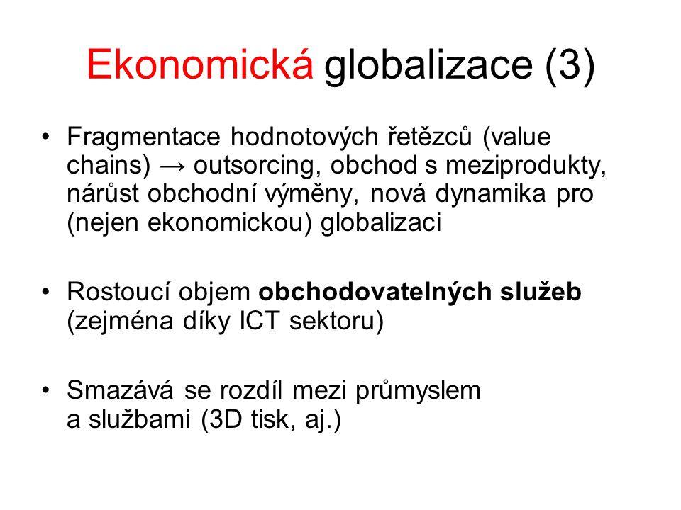Ekonomická globalizace (3) Fragmentace hodnotových řetězců (value chains) → outsorcing, obchod s meziprodukty, nárůst obchodní výměny, nová dynamika pro (nejen ekonomickou) globalizaci Rostoucí objem obchodovatelných služeb (zejména díky ICT sektoru) Smazává se rozdíl mezi průmyslem a službami (3D tisk, aj.)