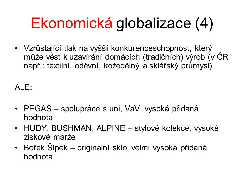 Ekonomická globalizace (4) Vzrůstající tlak na vyšší konkurenceschopnost, který může vést k uzavírání domácích (tradičních) výrob (v ČR např.: textilní, oděvní, kožedělný a sklářský průmysl) ALE: PEGAS – spolupráce s uni, VaV, vysoká přidaná hodnota HUDY, BUSHMAN, ALPINE – stylové kolekce, vysoké ziskové marže Bořek Šípek – originální sklo, velmi vysoká přidaná hodnota