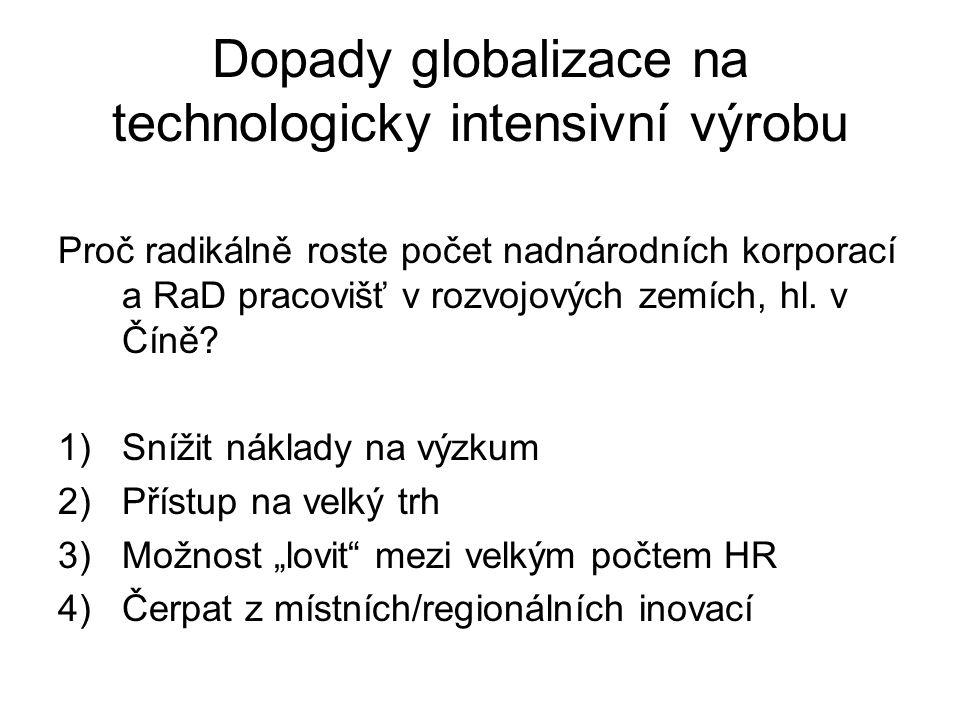 Dopady globalizace na technologicky intensivní výrobu Proč radikálně roste počet nadnárodních korporací a RaD pracovišť v rozvojových zemích, hl. v Čí