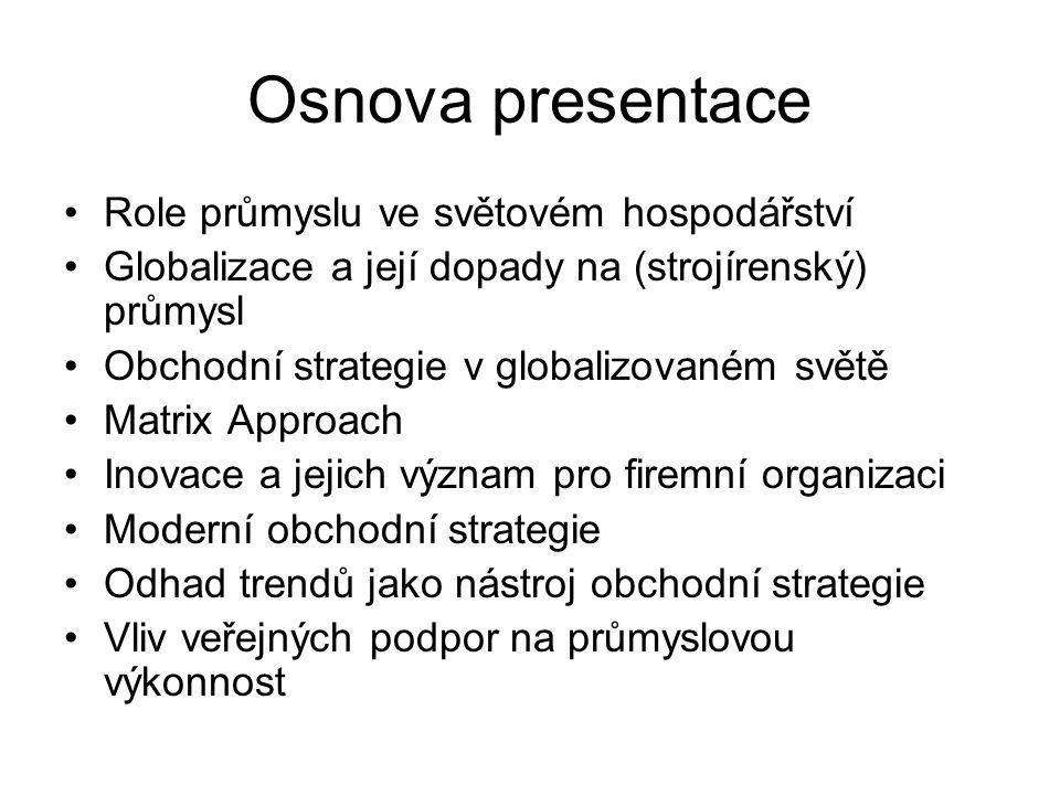 Osnova presentace Role průmyslu ve světovém hospodářství Globalizace a její dopady na (strojírenský) průmysl Obchodní strategie v globalizovaném světě
