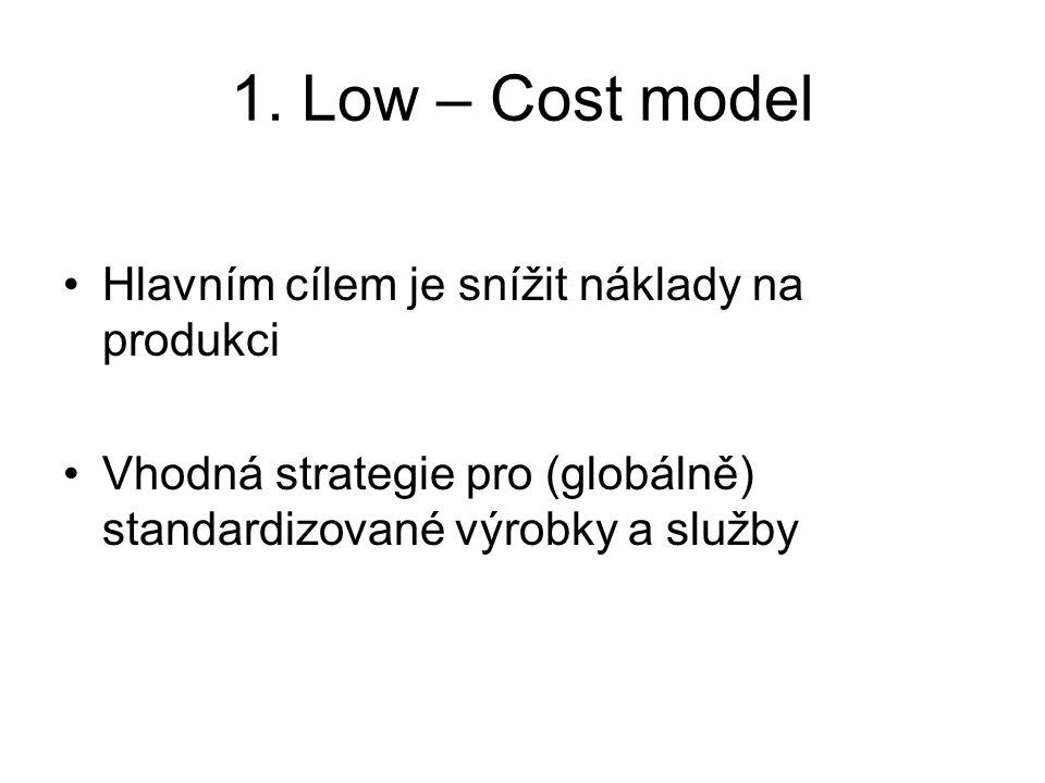 1. Low – Cost model Hlavním cílem je snížit náklady na produkci Vhodná strategie pro (globálně) standardizované výrobky a služby