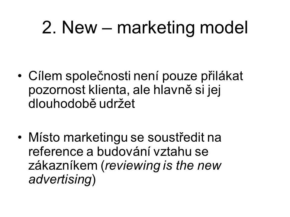 2. New – marketing model Cílem společnosti není pouze přilákat pozornost klienta, ale hlavně si jej dlouhodobě udržet Místo marketingu se soustředit n