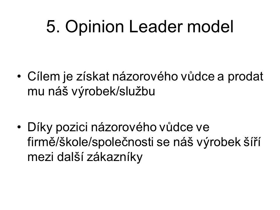 5. Opinion Leader model Cílem je získat názorového vůdce a prodat mu náš výrobek/službu Díky pozici názorového vůdce ve firmě/škole/společnosti se náš