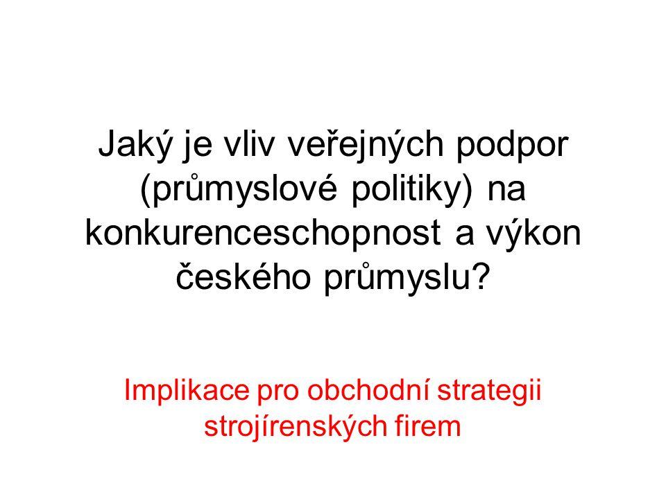 Jaký je vliv veřejných podpor (průmyslové politiky) na konkurenceschopnost a výkon českého průmyslu? Implikace pro obchodní strategii strojírenských f