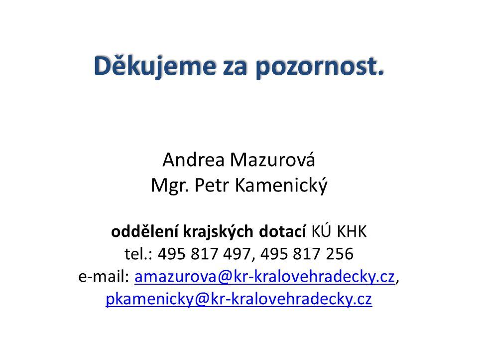Děkujeme za pozornost. Děkujeme za pozornost. Andrea Mazurová Mgr. Petr Kamenický oddělení krajských dotací KÚ KHK tel.: 495 817 497, 495 817 256 e-ma