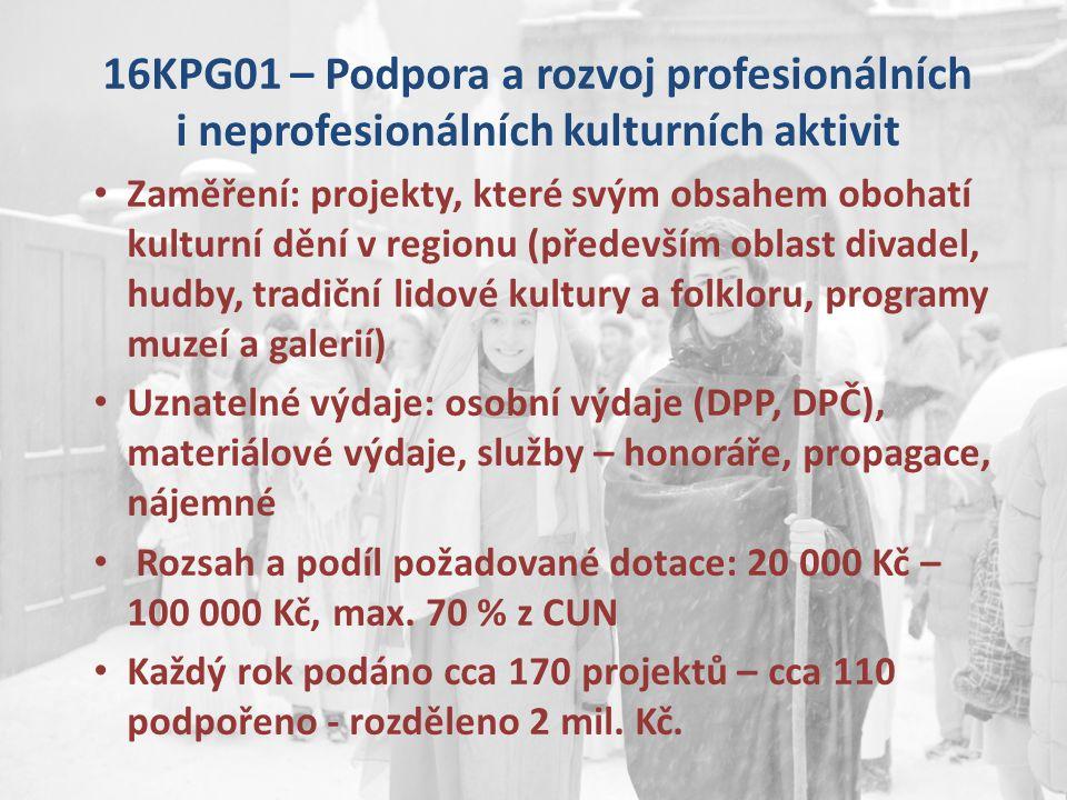 16KPG01 – Podpora a rozvoj profesionálních i neprofesionálních kulturních aktivit Zaměření: projekty, které svým obsahem obohatí kulturní dění v regio