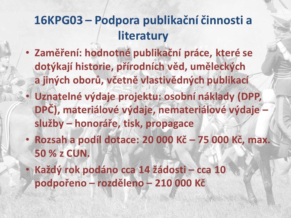 16KPG03 – Podpora publikační činnosti a literatury Zaměření: hodnotné publikační práce, které se dotýkají historie, přírodních věd, uměleckých a jinýc
