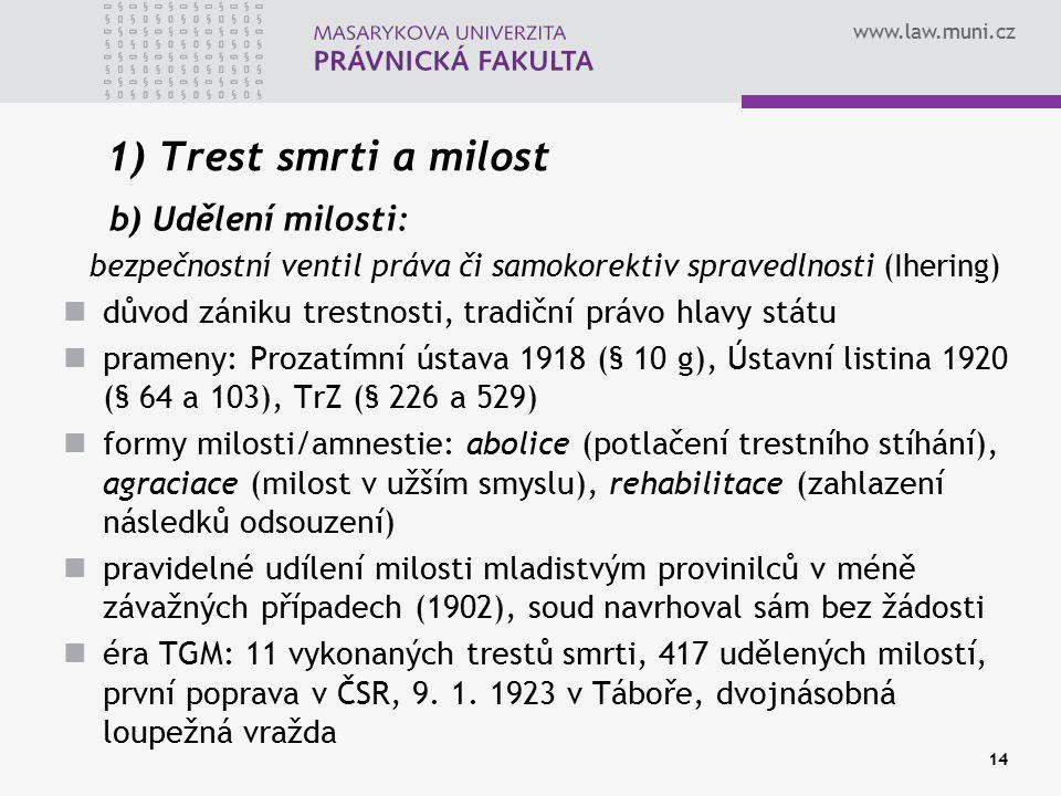 www.law.muni.cz 14 1) Trest smrti a milost b) Udělení milosti: bezpečnostní ventil práva či samokorektiv spravedlnosti (Ihering) důvod zániku trestnos