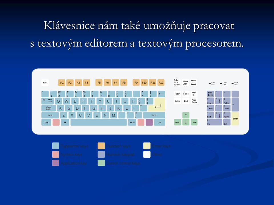 Klávesnice nám také umožňuje pracovat Klávesnice nám také umožňuje pracovat s textovým editorem a textovým procesorem.
