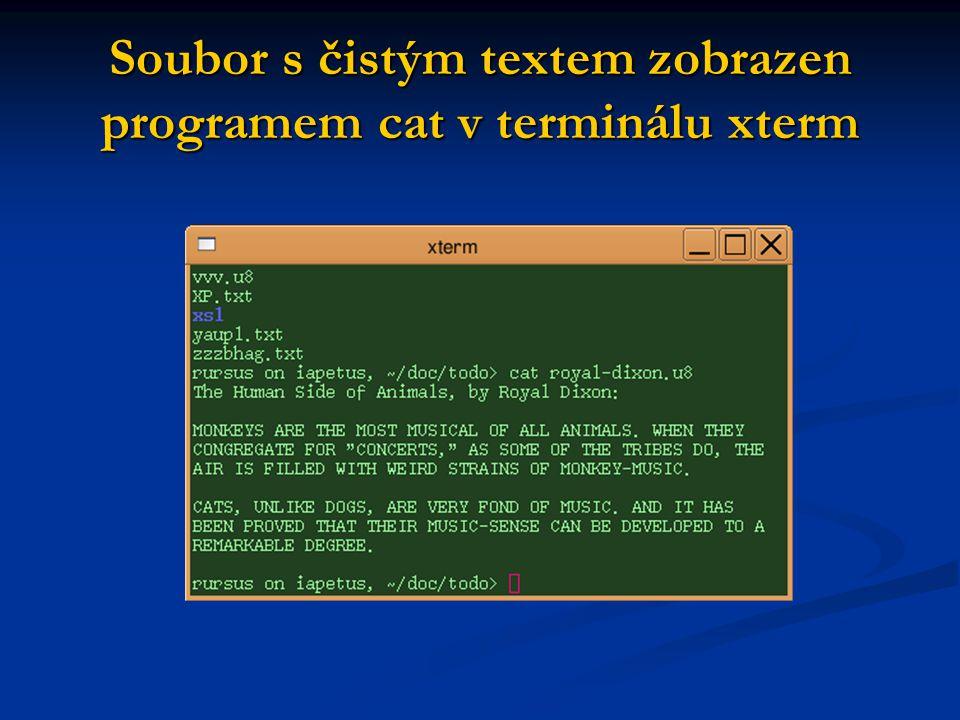 Soubor s čistým textem zobrazen programem cat v terminálu xterm
