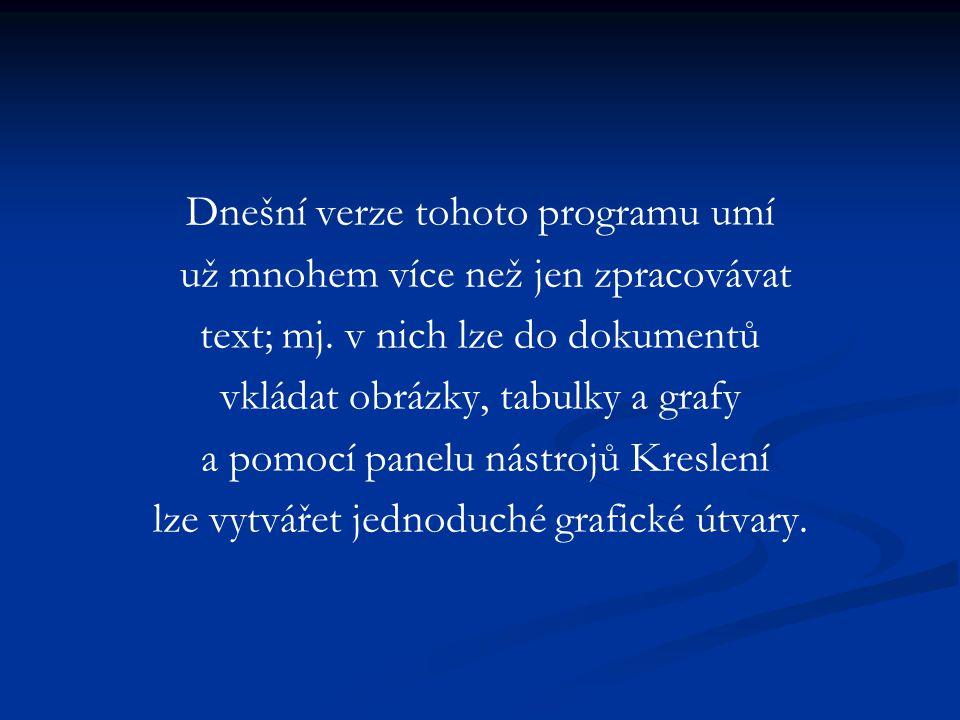 Dnešní verze tohoto programu umí už mnohem více než jen zpracovávat text; mj.