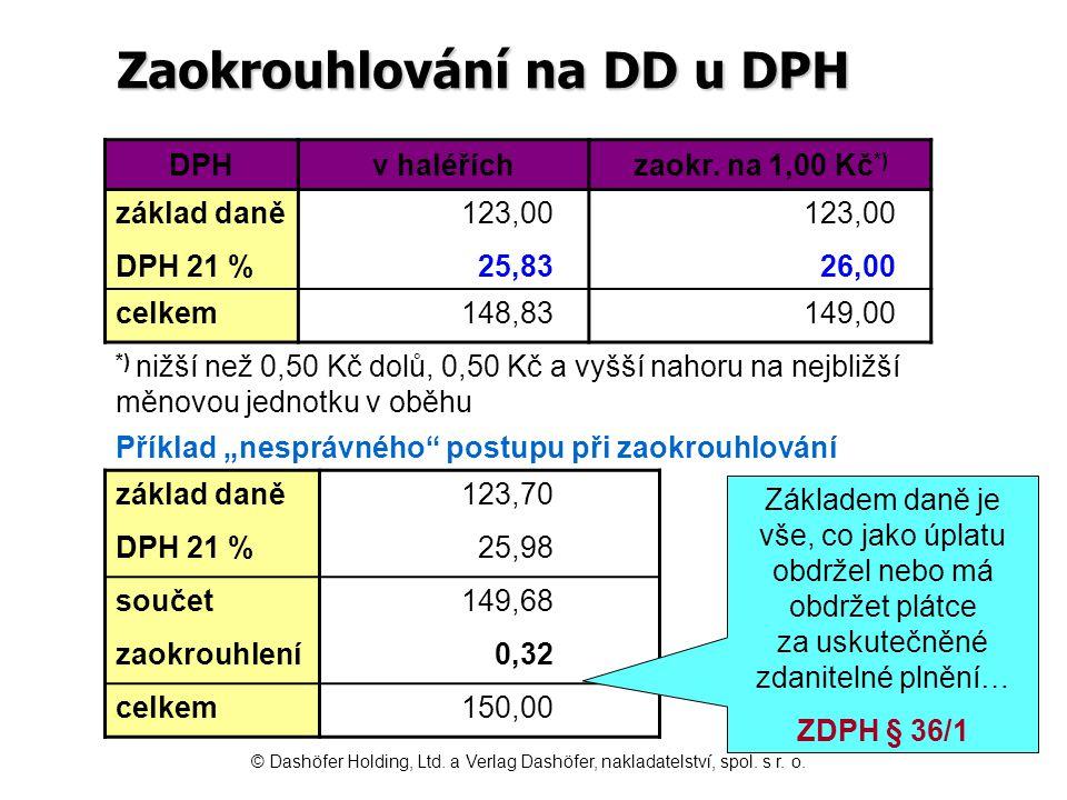 Zaokrouhlování na DD u DPH DPHv haléříchzaokr. na 1,00 Kč *) základ daně123,00 DPH 21 %25,8326,00 celkem148,83149,00 *) nižší než 0,50 Kč dolů, 0,50 K