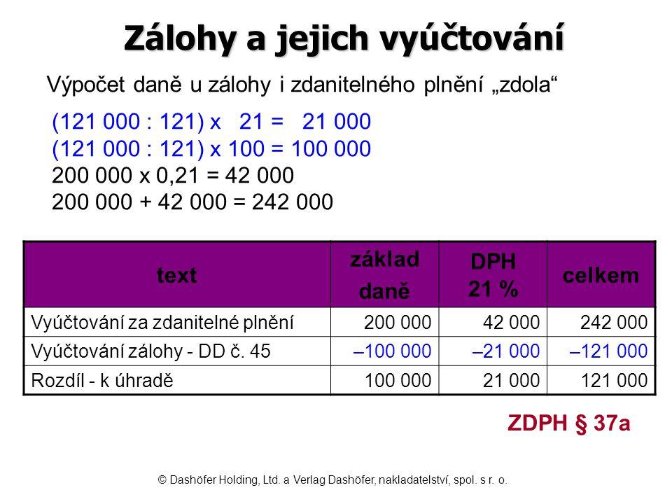 Zálohy a jejich vyúčtování text základ daně DPH 21 % celkem Vyúčtování za zdanitelné plnění 200 00042 000242 000 Vyúčtování zálohy - DD č. 45–100 000–