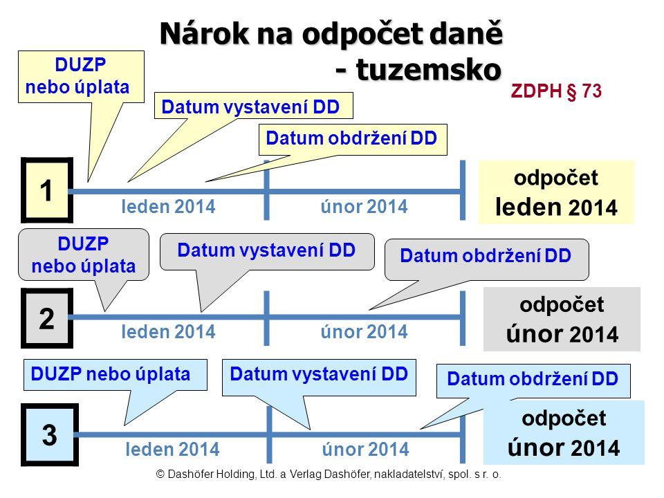 Nárok na odpočet daně - tuzemsko 1 leden 2014únor 2014 2 leden 2014únor 2014 3 leden 2014únor 2014 Datum vystavení DD Datum obdržení DD DUZP nebo úpla