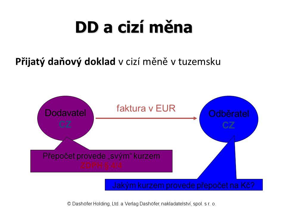 """DD a cizí měna Dodavatel kurz 1 EUR/26 CZK Odběratel kurz 1 EUR/27 CZK EURCZK účtování 1002 6002 721 ***) 5xx, 1xx, 04x/--- 21546 *) 343/--- 1213 146 3 267 **) ---/321 *) Částku DPH v CZK převezme z DD **) Přepočet """"svým účetním kurzem 121 x 27 CZK ***) Hodnota závazku v CZK – DPH v CZK Přijatý daňový doklad v cizí měně v tuzemsku © Dashöfer Holding, Ltd."""