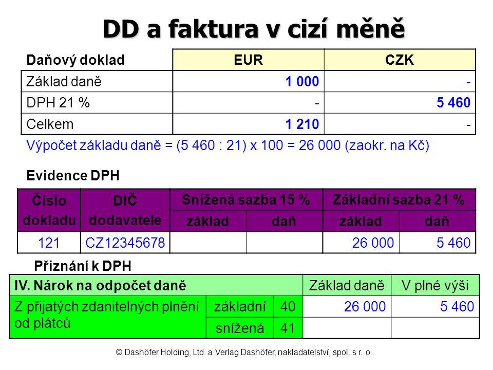 DD a faktura v cizí měně Daňový dokladEURCZK Základ daně1 000- DPH 21 %-5 460 Celkem1 210- Číslo dokladu DIČ dodavatele Snížená sazba 15 %Základní saz