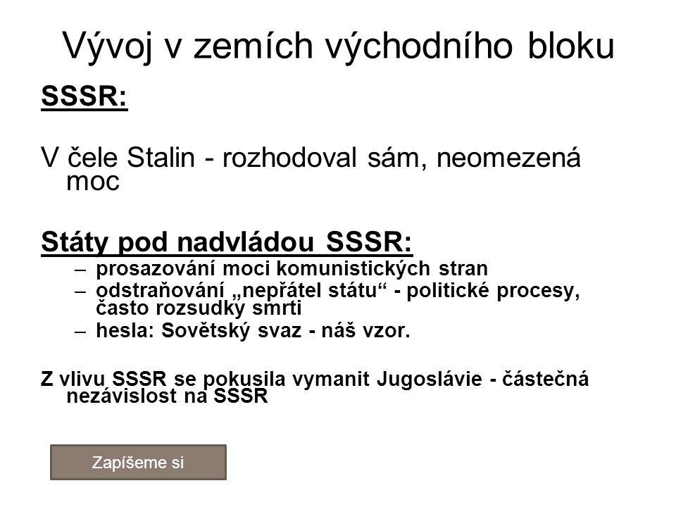 Vývoj v zemích východního bloku SSSR: V čele Stalin - rozhodoval sám, neomezená moc Státy pod nadvládou SSSR: –prosazování moci komunistických stran –