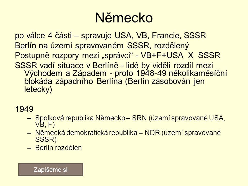 """Německo po válce 4 části – spravuje USA, VB, Francie, SSSR Berlín na území spravovaném SSSR, rozdělený Postupně rozpory mezi """"správci"""" - VB+F+USA X SS"""