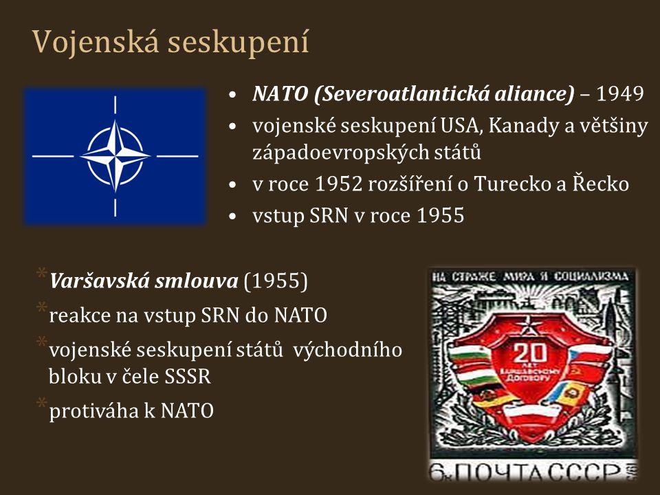 Vojenská seskupení NATO (Severoatlantická aliance) – 1949 vojenské seskupení USA, Kanady a většiny západoevropských států v roce 1952 rozšíření o Ture
