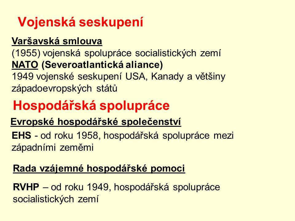Vojenská seskupení Evropské hospodářské společenství EHS - od roku 1958, hospodářská spolupráce mezi západními zeměmi Rada vzájemné hospodářské pomoci