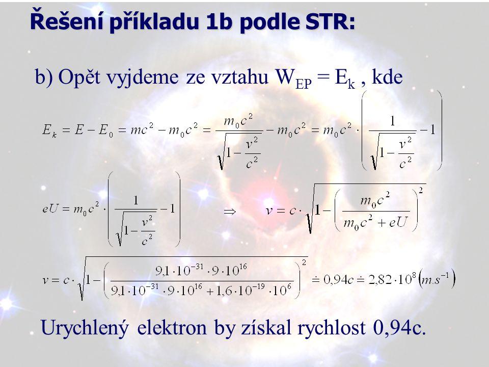 Řešení příkladu 1b podle STR: b) Opět vyjdeme ze vztahu W EP = E k, kde Urychlený elektron by získal rychlost 0,94c.