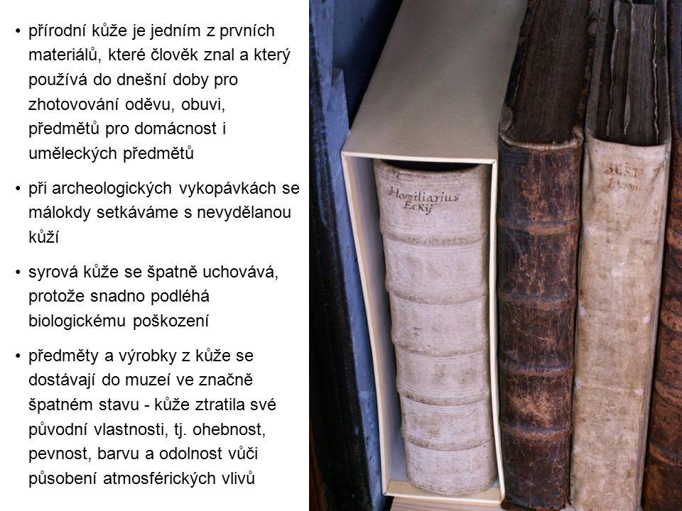 přírodní kůže je jedním z prvních materiálů, které člověk znal a který používá do dnešní doby pro zhotovování oděvu, obuvi, předmětů pro domácnost i uměleckých předmětů při archeologických vykopávkách se málokdy setkáváme s nevydělanou kůží syrová kůže se špatně uchovává, protože snadno podléhá biologickému poškození předměty a výrobky z kůže se dostávají do muzeí ve značně špatném stavu - kůže ztratila své původní vlastnosti, tj.