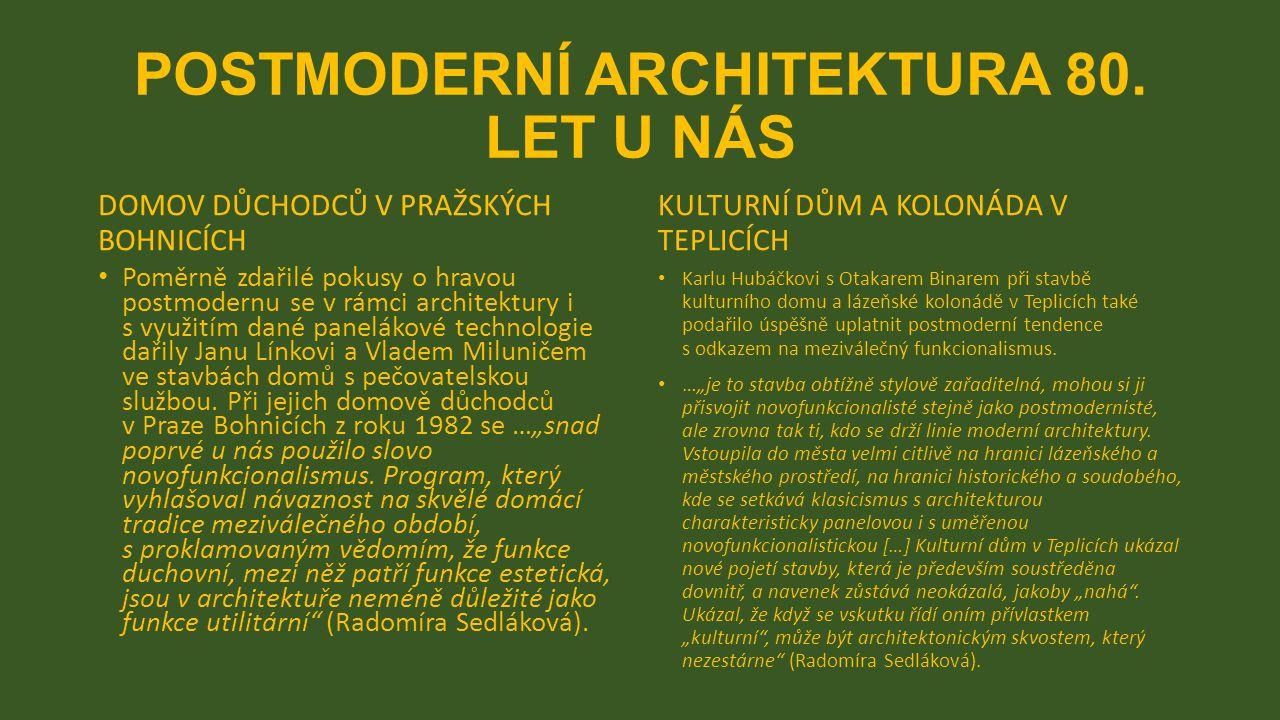 POSTMODERNÍ ARCHITEKTURA 80.