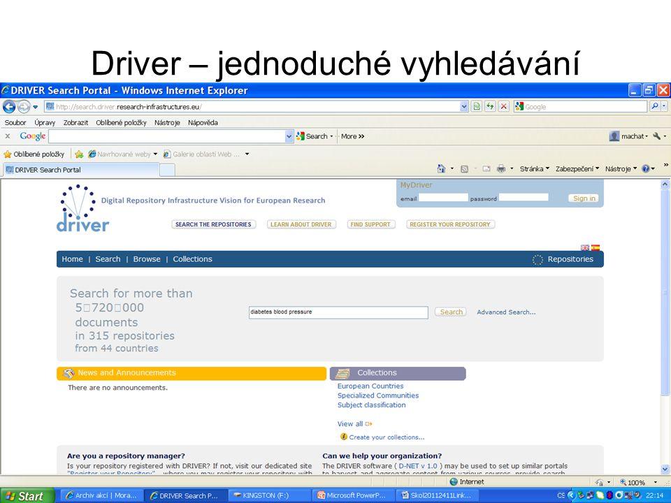 Driver – jednoduché vyhledávání