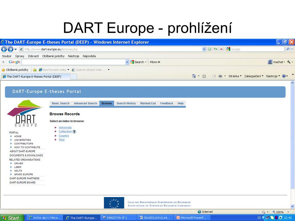 DART Europe - prohlížení