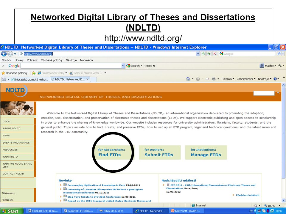 Networked Digital Library of Theses and Dissertations (NDLTD) http://www.ndltd.org/
