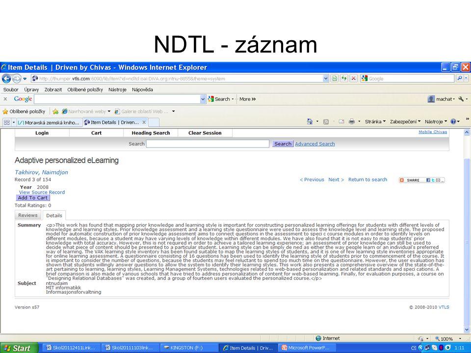 NDTL – práce s vybranými záznamy