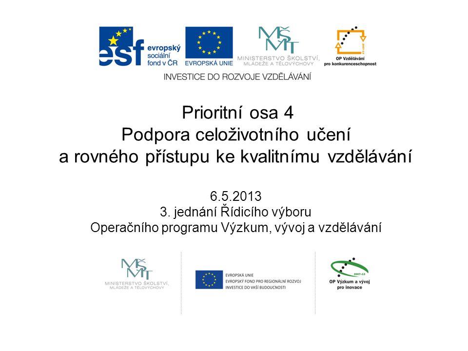 Prioritní osa 4 Podpora celoživotního učení a rovného přístupu ke kvalitnímu vzdělávání 6.5.2013 3.
