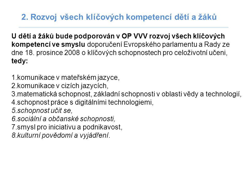 2. Rozvoj všech klíčových kompetencí dětí a žáků U dětí a žáků bude podporován v OP VVV rozvoj všech klíčových kompetencí ve smyslu doporučení Evropsk