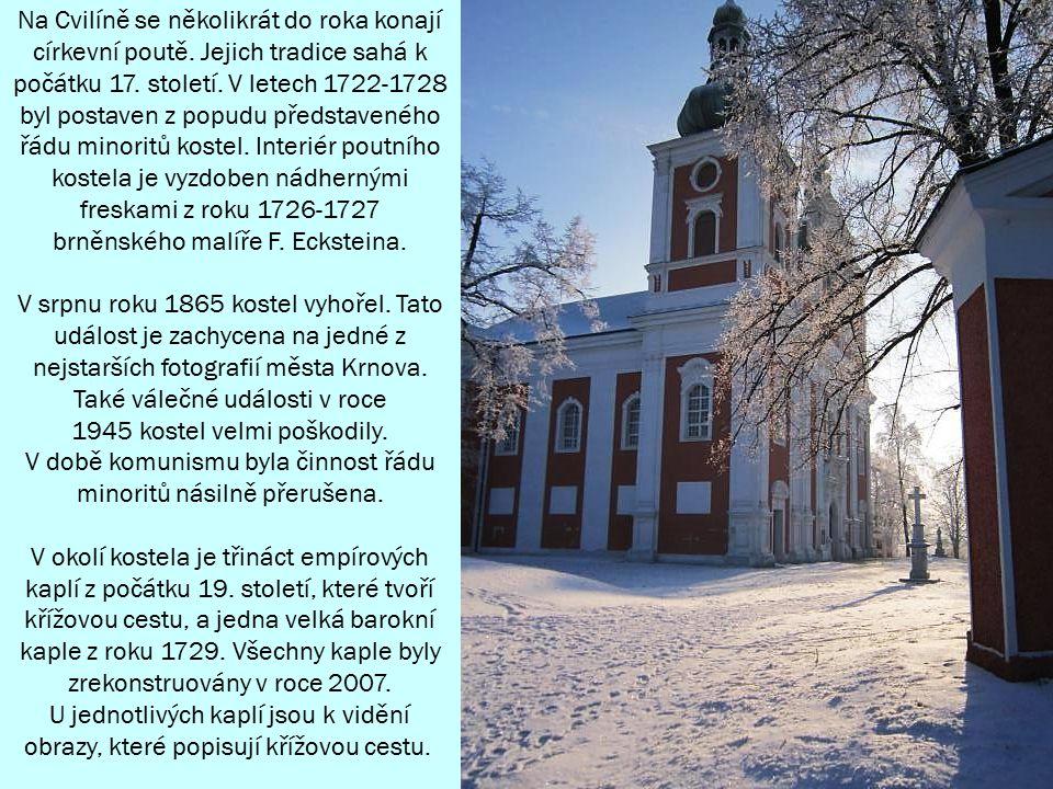 Vrch Cvilín s kostelem Panny Marie Sedmibolestné a rozhlednou tvoří výraznou dominantu města Krnova.