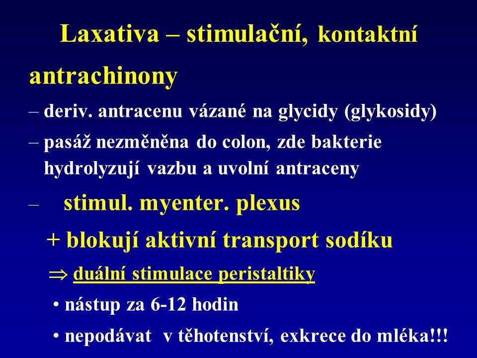 Laxativa – stimulační, kontaktní antrachinony –deriv. antracenu vázané na glycidy (glykosidy) –pasáž nezměněna do colon, zde bakterie hydrolyzují vazb