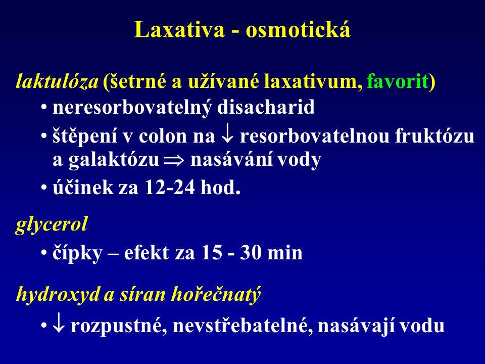 Laxativa - osmotická laktulóza (šetrné a užívané laxativum, favorit) neresorbovatelný disacharid štěpení v colon na  resorbovatelnou fruktózu a galak